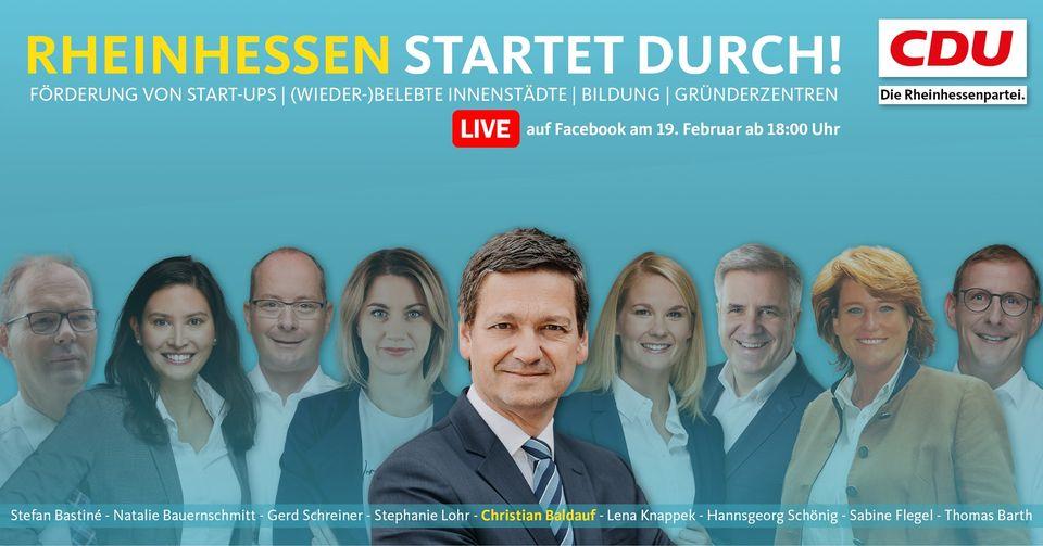 Neun Kandidaten – ein Thema: Rheinhessen startet durch! – Freitag, 19. Februar 2021 um 18:00 mit Christian Baldauf